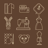 Vector Sewing Equipment and Needlework Icons Royalty Free Stock Images