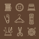 Vector Sewing Equipment and Needlework Icons Royalty Free Stock Photography