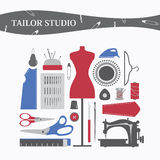 Vector sewing equipment and needlework Stock Photography
