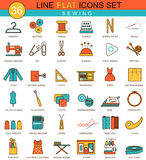 Vector sewing flat line icon set. Modern elegant style design  for web. Stock Photo
