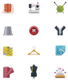 Vector sewing icon set. Set of the detailed sewing related icons Royalty Free Stock Images