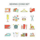 Vector sewing line icon set  Stock Images