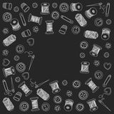Vector sewing and needlework icons. Set of sewing and needlework icons Hand drawn images Royalty Free Stock Images