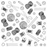 Vector sewing and needlework icons. Set of sewing and needlework icons Hand drawn images Stock Photography
