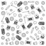 Vector sewing and needlework icons. Set of sewing and needlework icons Hand drawn images Stock Photo