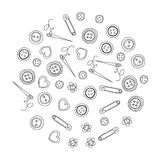 Vector sewing and needlework icons. Set of sewing and needlework icons Hand drawn images Royalty Free Stock Photography
