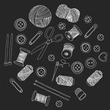 Vector sewing and needlework icons. Set of sewing and needlework icons Hand drawn images Stock Image
