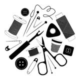 Vector Sewing Supplies silhouette. Royalty Free Stock Photo