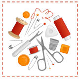 Vector sewing tools in the shape of a circle. Royalty Free Stock Photography