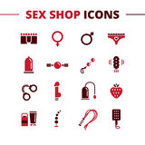 Vector sex shop icons set. Trendy two color line Stock Image