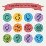 Vector sexual orientation black web icons. Symbol,sign in flat style  on a colorful circle Stock Photos