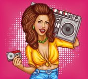 Vector sexy pop art woman with tape recorder. Vector sexy smiling woman with bright makeup, in tied shirt and jeans holds tape recorder on her shoulder and audio Stock Images