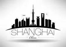 Vector Shanghai City Skyline Design royalty free illustration