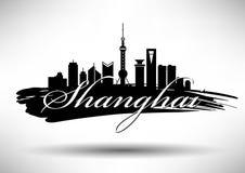 Vector Shanghai City Skyline Design vector illustration