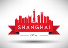 Vector Shanghai City Skyline Design royalty free illustration