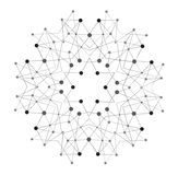 Vector Shape, Molecular Structure with Lines and Dots Royalty Free Stock Images