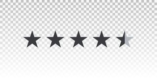 Vector shape star rating bar isolated on transparent background. Element for design your website or app.  vector illustration