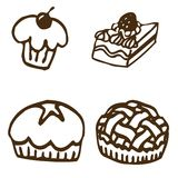 Vector shaped desserts. Black shaped desserts, pie, cupcake, cake royalty free illustration
