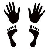 Vector shapes hands feet. Black hands and feet  shapes on white square background Royalty Free Stock Images