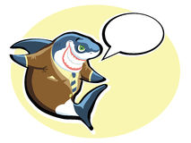 Vector shark. Cartoon shark in the suit with speech bubble Royalty Free Stock Photography