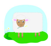 Vector sheep. Smilling sheep on the grass eating chamomile Royalty Free Stock Photo
