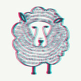 Vector Sheep illustration with Anaglyph 3D effect vector illustration