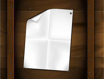 Vector sheet of folded white paper on a wood Royalty Free Stock Photos