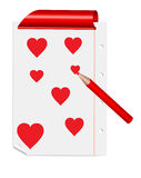 Vector sheet with hearts Stock Photography