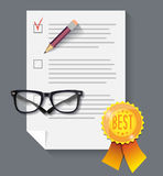 Vector sheet with the list, pencil and glasses and the best mark. Vector abstract depicting a sheet of paper, glasses, pencil and a sign with the word `best vector illustration