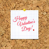 Vector Sheet of Paper and Happy Valentine Day on corkboard. Royalty Free Stock Photography