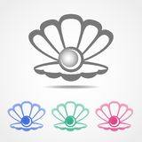Vector shell icon with a pearl in different colors Stock Photography
