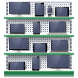 Vector Shelves with Modern Electronic Devices Stock Image
