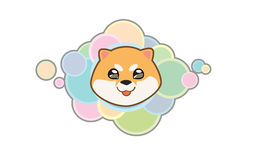 Vector Shiba inu cute head. Vector illustration Dog `s head in cartoon style Stock Photos