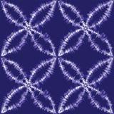 Vector shibori japanese indigo motifs seamless pattern background stock illustration