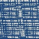 Vector shibori seamless print. Indigo grid pattern. Vector shibori line seamless print. Organic net watercolor background. Tie dye tile. Geometric cross pattern Royalty Free Stock Photos
