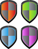 Vector shield. In four color variants - red, green, blue and purple. Eps format is available Stock Photos