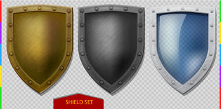 Vector shield icon set. Bronze, iron, glass (transparemcy in additional format only). Protect logo collection. Scratched metal with rivets royalty free illustration