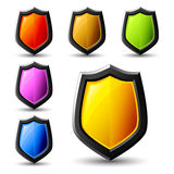 Vector shield icons, samples. Vector shield icons, colous samples Stock Image