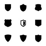 Vector shield icons set. On white background Royalty Free Stock Photos