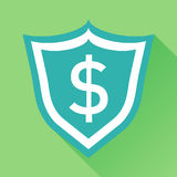 Vector shield with money. Illustration in flat style with dollar. On green background with long shadow Royalty Free Stock Photography