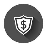 Vector shield with money. Illustration in flat style with dollar with long shadow Royalty Free Stock Photos