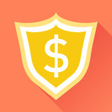 Vector shield with money. Illustration in flat style with dollar Stock Photography