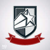 Vector shield with pentagonal comet star and decorative curvy ba. Nd, protection heraldic sheriff blazon with red ribbon. Ussr socialism conceptual symbol. Award Stock Image