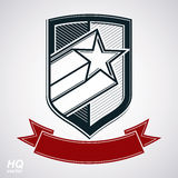 Vector shield with pentagonal comet star and decorative curvy band. Protection heraldic sheriff blazon with red ribbon. Ussr socialism conceptual symbol. Award Royalty Free Stock Photography