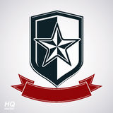 Vector shield with pentagonal Soviet star and decorative curvy r. Ibbon, protection heraldic blazon. Communism and socialism conceptual symbol. Ussr classic stock illustration