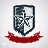Vector shield with pentagonal star Stock Image
