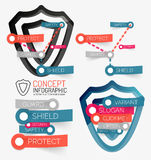 Vector shield protection infographic Stock Photos