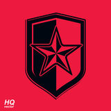 Vector shield with a red pentagonal Soviet star, protection hera. Ldic blazon. Communism and socialism conceptual symbol. Ussr design element Stock Image