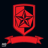 Vector shield with a red pentagonal Soviet star, protection hera. Ldic blazon. Communism and socialism conceptual symbol. Ussr design element Stock Photo