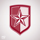 Vector shield with red pentagonal star, protection. Heraldic blazon. Conceptual symbol, design element Royalty Free Stock Images